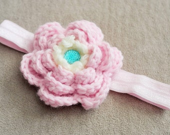 Baby Pink Crochet Flower Headband