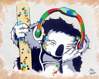 "Street Art and Urban Art Dj ""Koala Tracks"" Limited Edition Canvas Print by Andy Baker of Bald Art."
