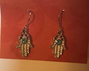 Silver Hamsah hand Hamsa hand Ohm Good Luck Dangle Earrings