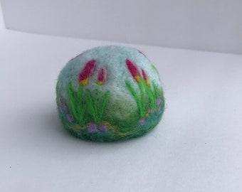 Handmade needle felted wool pincushion.