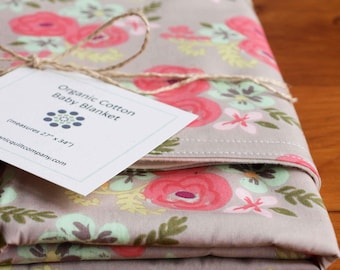 Retro Floral Print Baby Girl Blanket; Flowers; Pink and Gray Receiving Blanket; Handmade Baby Shower Gift; Crib Blanket; Flora (Last One)