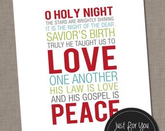 Christmas Printable Wall Art - O Holy Night - Holiday - Carols - Subway Art, Typography - YOU PRINT - 16x20 (8x10) Print Poster Sign