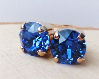 Sapphire Blue Swarovski Stud Earrings, Crystal Rhinestone Rose Gold Studs, Rose Gold Round, Diamond Cut, Gift for Her, Bridesmaid Gifts