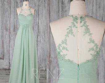 Bridesmaid Dress Dusty Mint Chiffon Dress,Wedding Dress,Halter Neck Maxi Dress,Sweetheart Party Dress,Illusion Lace Back Prom Dress(H690)