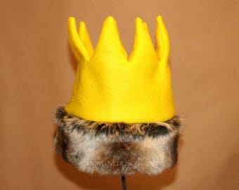 Wild Thing Crown with Fur Trim, Max Crown, Gold Crown, Wild Things Birthday, Wild Things Party, First Birthday Crown, Wild One, Photo Prop