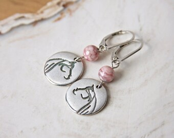 Horse Earrings Sterling Silver Pink Stone Rhodochrosite Handmade Stylized Horse Charm Recycled Silver Argentium Leverback Equestrian Jewelry