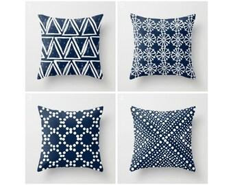 Navy Blue Throw Pillow . Modern Throw Pillow . Navy and White Pillow . Navy Cushion . Geometric . Blue Cotton Throw Pillow 14 16 18 20 inch