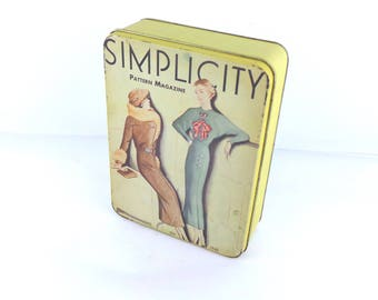 Vintage Tin Simplicity Pattern Magazine Cover, Pattern Storage Tin, 1988, Collectible Tins