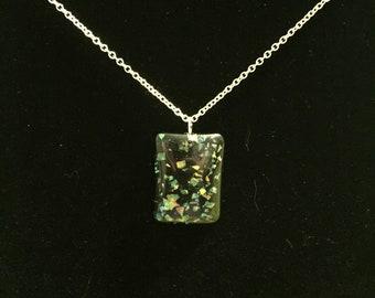 Faux Opal Flecked Pendant Necklace