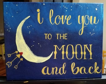 I love you to the moon and back nursery painting