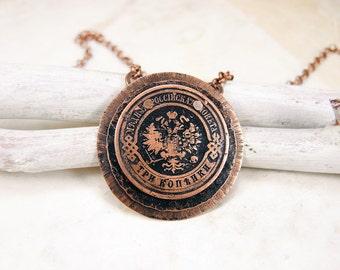 Collier de pièce de monnaie en cuivre avec pièce de monnaie antique