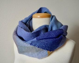Wild Iris Scarf - Purple Blue Periwinkle & Gold Handwoven Scarf in Miscellaneous Luxury Fibers, Including Alpaca, Organic Merino Wool,