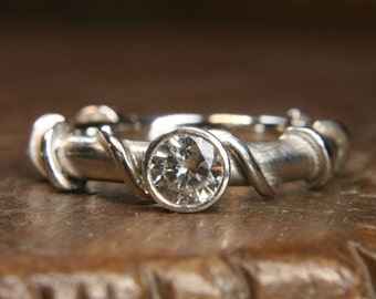 Handmade recycled silver & lab grown 1/2 carat solitaire moissanite engagement ring