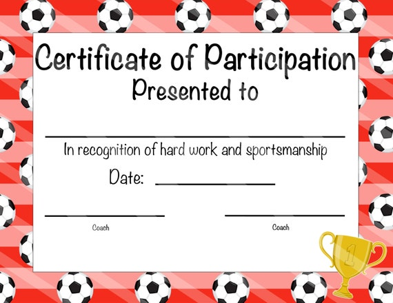 Items similar to Soccer Certificate of Achievement - Soccer Award ...