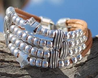 brown, multistrand leather Bracelet