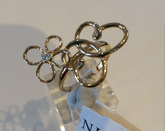 Nina Ricci PARIS Collection.  2 Butterflies handset with CZ stones.  Sterling Silver w gold plating.  Designer, Size 7 1/2, New