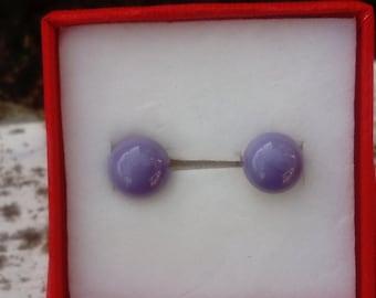Murano glass, Lampwork, violet color stud earring