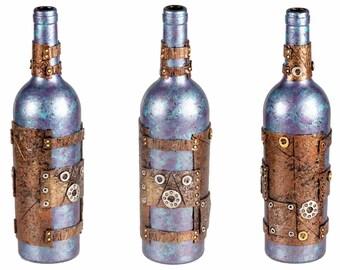 """11"""" Steampunk Oil Lamp Bottle - Blue/Purple"""