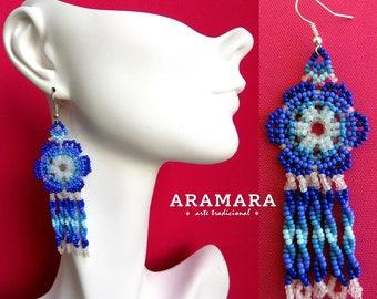Native american earrings, Beaded Flower, Mexican folk art, Flower Earrings, Mexican earrings, Mexican Jewelry, Huichol Earrings, AF-0152