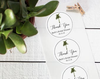 Vintage Palm Tree Favor Labels | Tropical Favor Labels | Tropical Wedding Favor Labels | Thank You Favor Labels | Shower Label- ANY OCCASION