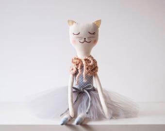 Ballerina Ella Cat Doll, Handmade Cat Doll, Rag Doll Cat