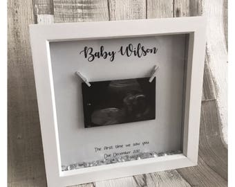 The first time we saw you baby scan bump frame Keepsake gift baby on the way