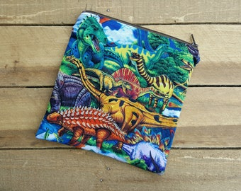 Dinosaur zippered bag, multi purpose wet bag, sandwich snack bag, cosmetic toiletry bag, back to school, momma cloth bag, school lunch