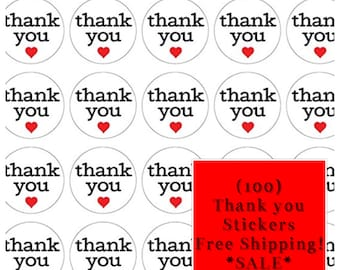 FREE SHIPPING! (100) Self Adhesive Thank You Stickers **SALE**