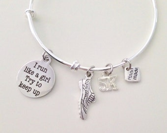 Running Silver Bangle, Runner Bracelet, Expandle Bracelet, 5k or 10k Runner