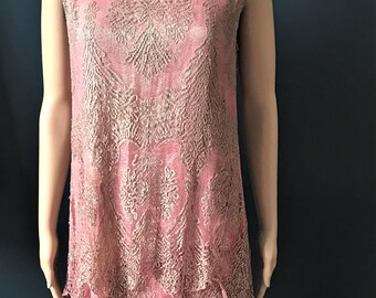 Stunning Original Antique 1920's 'Flapper' Dress. Pink Metallic Tulle