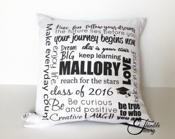 Personalized graduation pillow cover, college graduate gift, university graduate gift, high school graduate gift, graduation gift