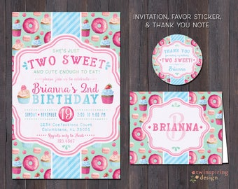 Two Sweet Cupcake Donut Birthday Party Invitations, Thank You Notes, and/or Favor Stickers | Sweet Treats Birthday Party Package