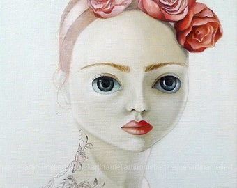 Tattooed girl woman portrait pop surrealism original art PRINT big eyed queer art fairy tale ooak blythe girl portrait,red roses painting