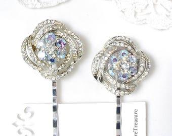 1 Something Old & Blue Rhinestone Silver Vintage Bridal Hair Pin, Light Powder Blue Bobby Pin Hair Clip, Bridesmaid Jewelry Wedding Gift
