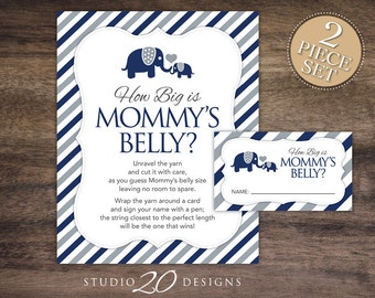 Instant Download Navy Elephant How Big is Mommy's Belly Baby Shower Game, Blue Grey Elephant Baby Bump Game, Guess Tummy Size for Boy #22G