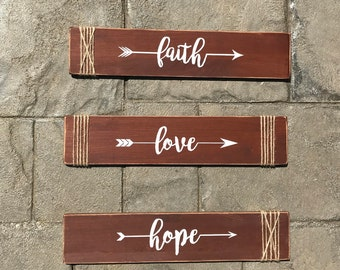 Faith, Love, Hope Wooden Signs