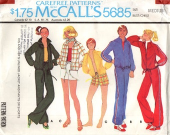 McCall's 5685 His & Hers Unlined Jacket Pants Short Shorts VINTAGE 1970s ©1977 CAREFREE PATTERN