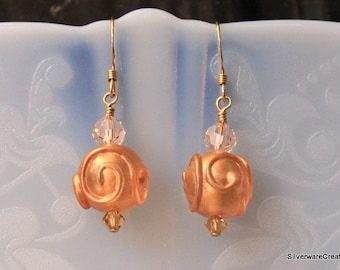 USA Lampwork Earrings  - Gold Filled Ear Wires - Ready to Ship & Made in Usa - LAMPWORK Beads