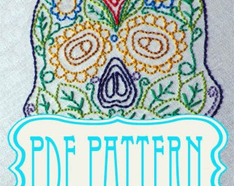 Sugar skull Embroidery PDF pattern. Sugar Skull Hand Embroidery Pattern - Make your own - DIY- instant download