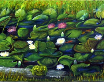 Oil Painting, Toad, Frog, Lily Pads, Pond
