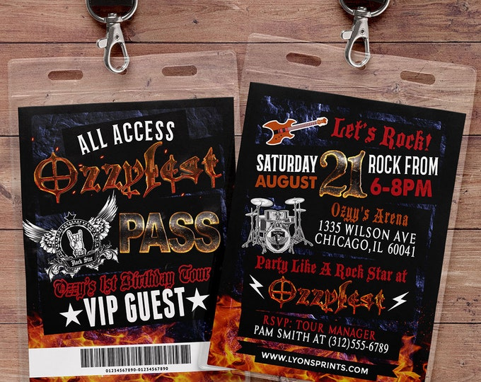 VIP PASS, backstage pass, concert ticket, birthday invitation, Any age, 40th, 30th, 21st, 50th, party favor, lanyard, rock star, heavy metal