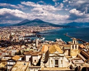 Mount Vesuvius, Naples Italy, Naples Travel Photo, Naples Seaview, Naples From Above, Italy Wall Decor, Large Wall Art, Fine Art Photo