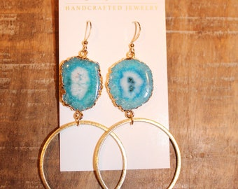Turquoise Quartz Hoop Earrings