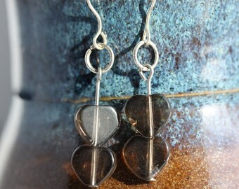 Smoky Quartz Sterling Silver Earrings - Item 207