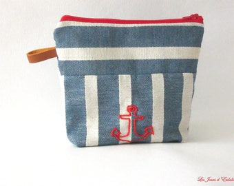 Toiletry bag stripes and Navy ink.