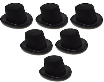 "4"" Black Mini Flocked Felt Top Hats - 6 PACK"