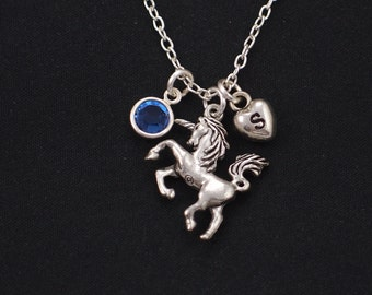 unicorn necklace, sterling silver filled, initial necklace, birthstone necklace, silver unicorn charm, fairytale jewelry,bridesmaid jewelry