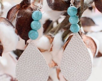 Faux silver tear drop with turquoise