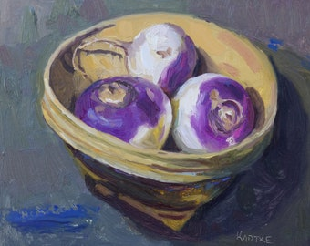8x10 Still Life Oil Painting on Panel, Turnip Trio