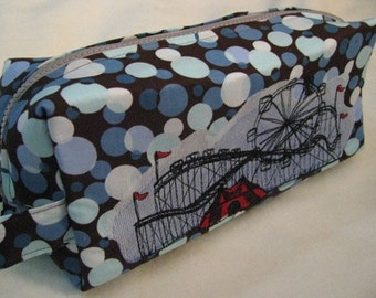 Polka Dot with Carnival Boardwalk Embroidery - Pencil Bag Craft Bag Cosmetic Bag Makeup Bag Shaving Kit LARGE